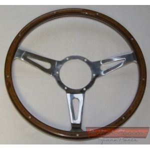 Steering-Wheel-14-inches-Wood-Brass-Pins-Mountney -- British Classic Spare Parts
